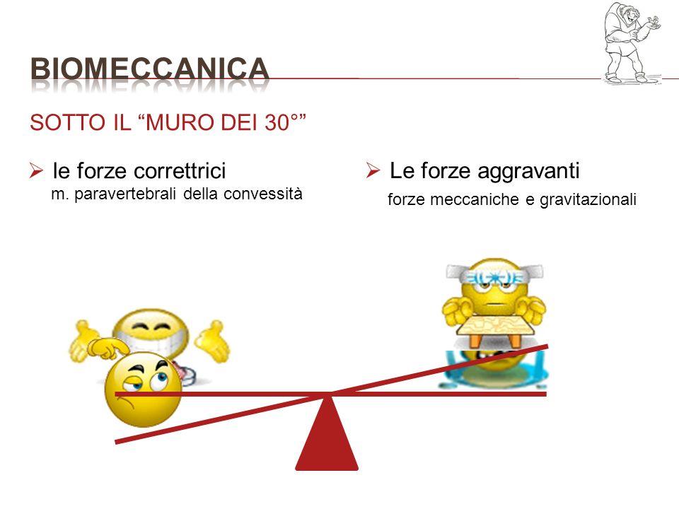 SOTTO IL MURO DEI 30° Le forze aggravanti le forze correttrici m. paravertebrali della convessità forze meccaniche e gravitazionali