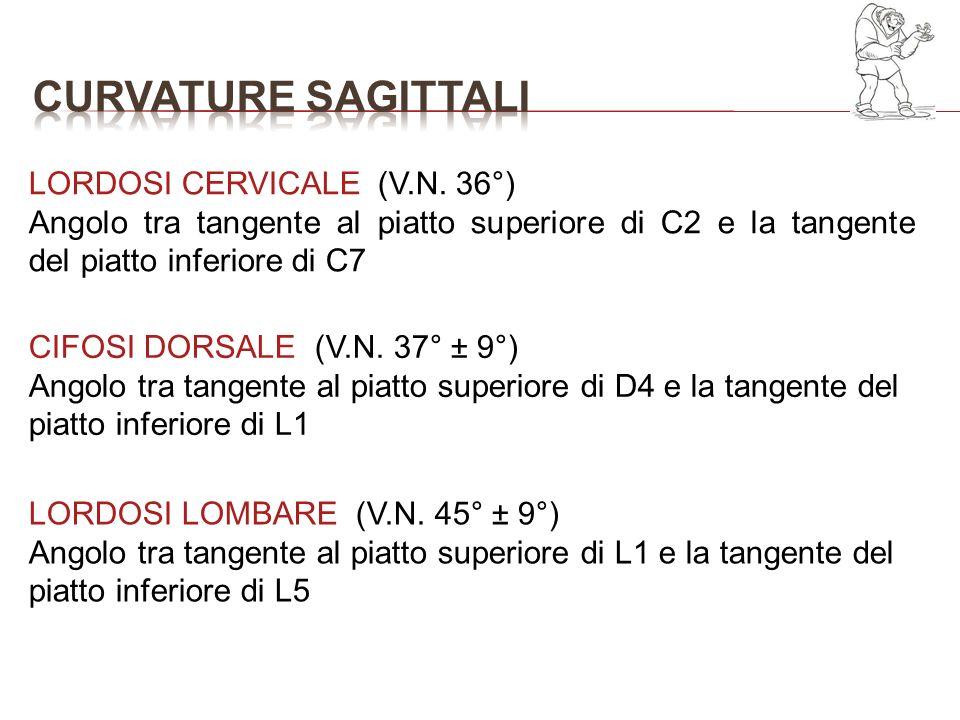 LORDOSI CERVICALE (V.N. 36°) Angolo tra tangente al piatto superiore di C2 e la tangente del piatto inferiore di C7 CIFOSI DORSALE (V.N. 37° ± 9°) Ang