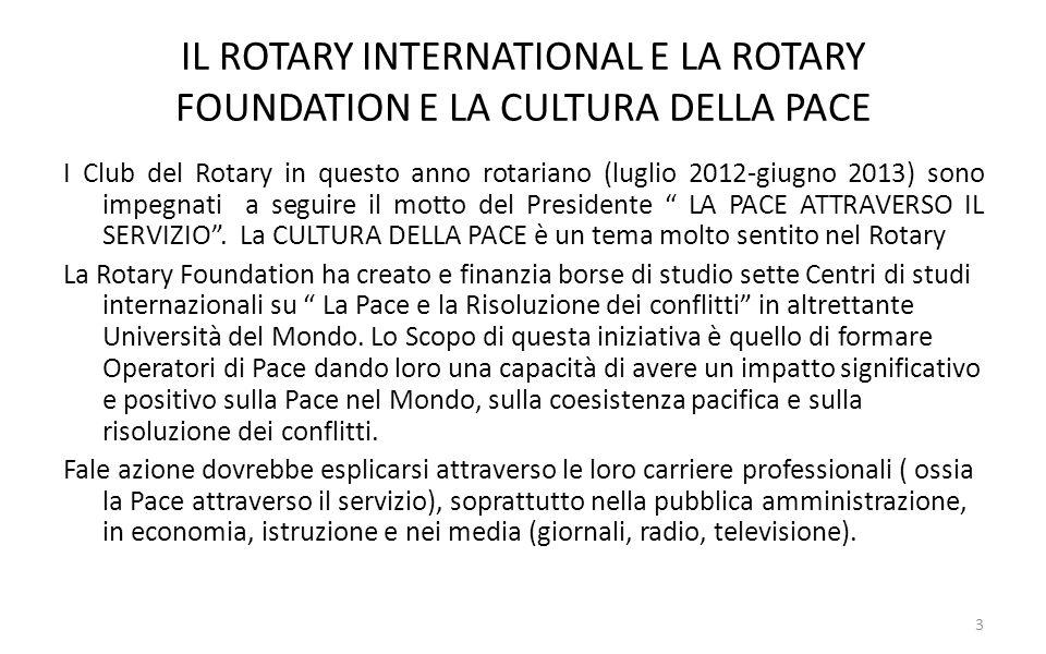 IL RUOLO DEL ROTARY INTERNATIONAL IN SENO ALLE ORGANIZZAZIONI INTERNAZIONALI La presenza del Rotary, come ONG, nelle riunioni delle Agenzie ed Organizzazioni dellONU si esplica attraverso suoi Rappresentanti Rotariani sulle linee dazione: 1) discutere su questioni parallele per possibili collaborazioni 2) informare le Nazioni Unite sui programma rotariani per lo sviluppo della Pace e per le Azioni umanitarie.
