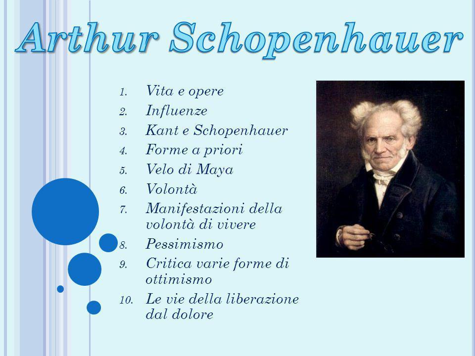 1. Vita e opere 2. Influenze 3. Kant e Schopenhauer 4. Forme a priori 5. Velo di Maya 6. Volontà 7. Manifestazioni della volontà di vivere 8. Pessimis