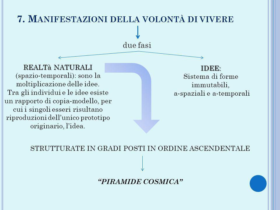 7. M ANIFESTAZIONI DELLA VOLONTÀ DI VIVERE due fasi IDEE: Sistema di forme immutabili, a-spaziali e a-temporali REALTà NATURALI (spazio-temporali): so