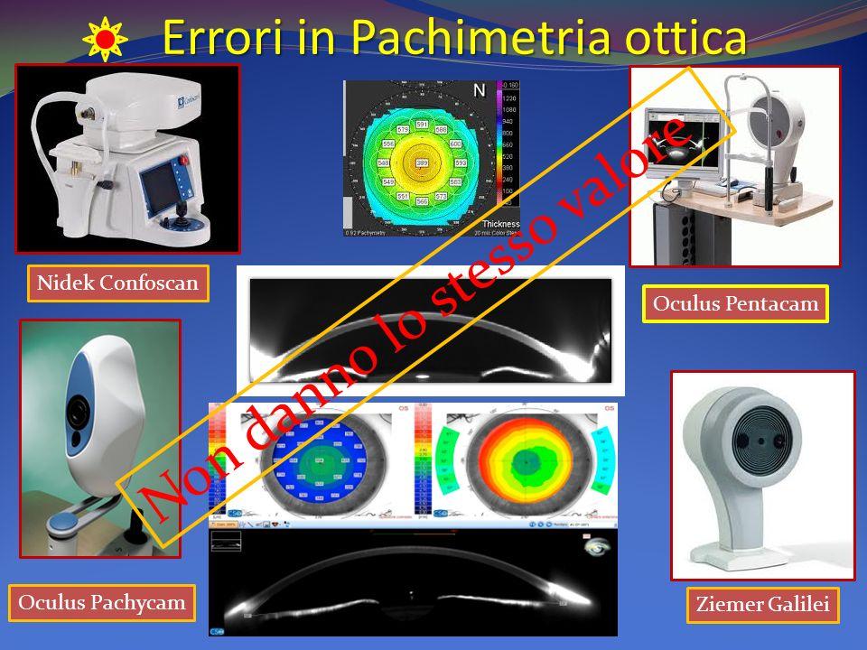 Errori in Pachimetria ottica Nidek Confoscan Oculus Pentacam Ziemer Galilei Oculus Pachycam Non danno lo stesso valore