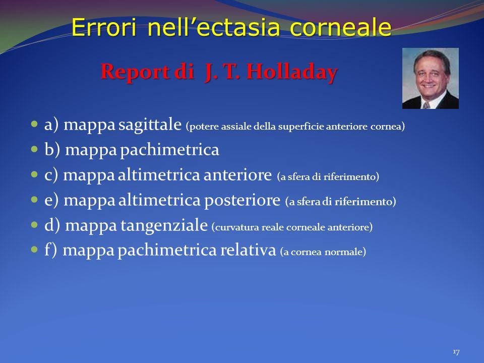 Errori nellectasia corneale Report di J. T. Holladay a) mappa sagittale (potere assiale della superficie anteriore cornea) b) mappa pachimetrica c) ma