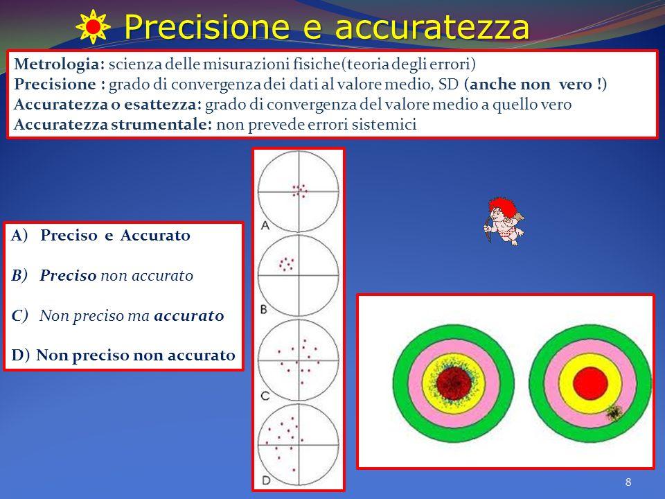 Precisione e accuratezza 8 A) Preciso e Accurato B) Preciso non accurato C) Non preciso ma accurato D)Non preciso non accurato Metrologia: scienza del