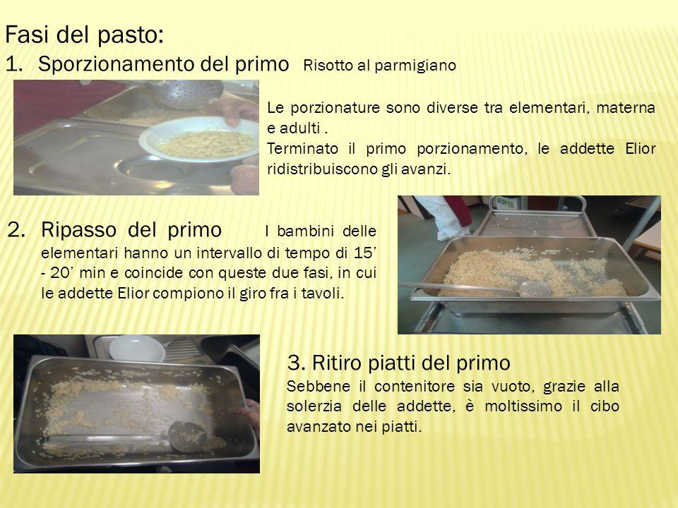 Fasi del pasto: 1.Sporzionamento del primo Risotto al parmigiano Le porzionature sono diverse tra elementari, materna e adulti. Terminato il primo por