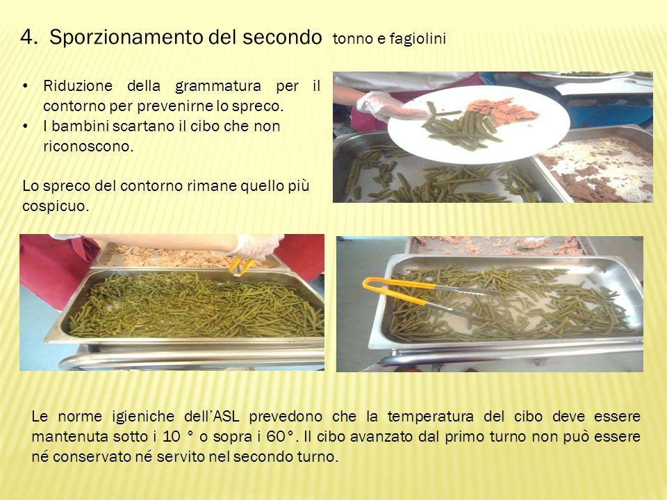 4. Sporzionamento del secondo tonno e fagiolini Riduzione della grammatura per il contorno per prevenirne lo spreco. I bambini scartano il cibo che no