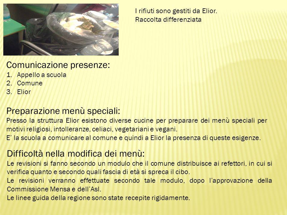 I rifiuti sono gestiti da Elior. Raccolta differenziata Difficoltà nella modifica dei menù: Le revisioni si fanno secondo un modulo che il comune dist