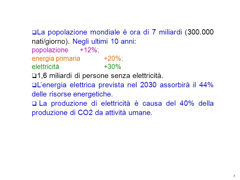 5 Kyoto Club: «L Italia capace di futuro» Roma – 5 dicembre 2011 In Cina nel periodo 2006 – 2010 sono stati messi in servizio ~ 300 MW/giorno di nuove centrali (100 GW/anno pari alla totale potenza installata in Italia in 130 anni) delle quali l80% a carbone; le emissioni annuali di CO2 da solo queste centrali sono 2,2 Gt.