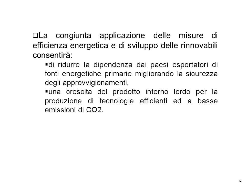 42 Kyoto Club: «L Italia capace di futuro» Roma – 5 dicembre 2011 La congiunta applicazione delle misure di efficienza energetica e di sviluppo delle rinnovabili consentirà: di ridurre la dipendenza dai paesi esportatori di fonti energetiche primarie migliorando la sicurezza degli approvvigionamenti, una crescita del prodotto interno lordo per la produzione di tecnologie efficienti ed a basse emissioni di CO2.
