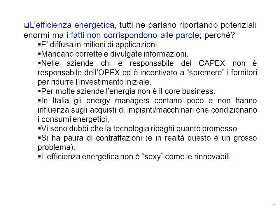 57 Kyoto Club: «L Italia capace di futuro» Roma – 5 dicembre 2011 Lefficienza energetica, tutti ne parlano riportando potenziali enormi ma i fatti non corrispondono alle parole; perché.