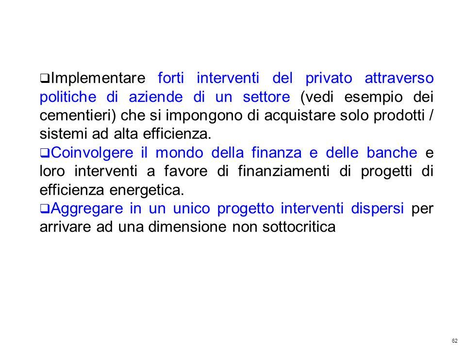 62 Kyoto Club: «L Italia capace di futuro» Roma – 5 dicembre 2011 Implementare forti interventi del privato attraverso politiche di aziende di un settore (vedi esempio dei cementieri) che si impongono di acquistare solo prodotti / sistemi ad alta efficienza.