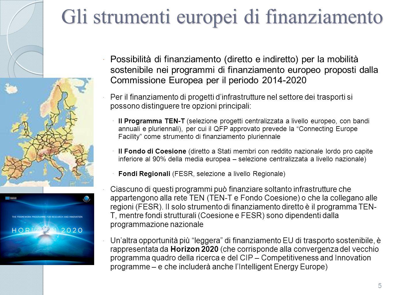 Gli strumenti europei di finanziamento Possibilità di finanziamento (diretto e indiretto) per la mobilità sostenibile nei programmi di finanziamento europeo proposti dalla Commissione Europea per il periodo 2014-2020 Per il finanziamento di progetti dinfrastrutture nel settore dei trasporti si possono distinguere tre opzioni principali: Il Programma TEN-T (selezione progetti centralizzata a livello europeo, con bandi annuali e pluriennali), per cui il QFP approvato prevede la Connecting Europe Facility come strumento di finanziamento pluriennale Il Fondo di Coesione (diretto a Stati membri con reddito nazionale lordo pro capite inferiore al 90% della media europea – selezione centralizzata a livello nazionale) Fondi Regionali (FESR, selezione a livello Regionale) Ciascuno di questi programmi può finanziare soltanto infrastrutture che appartengono alla rete TEN (TEN-T e Fondo Coesione) o che la collegano alle regioni (FESR).