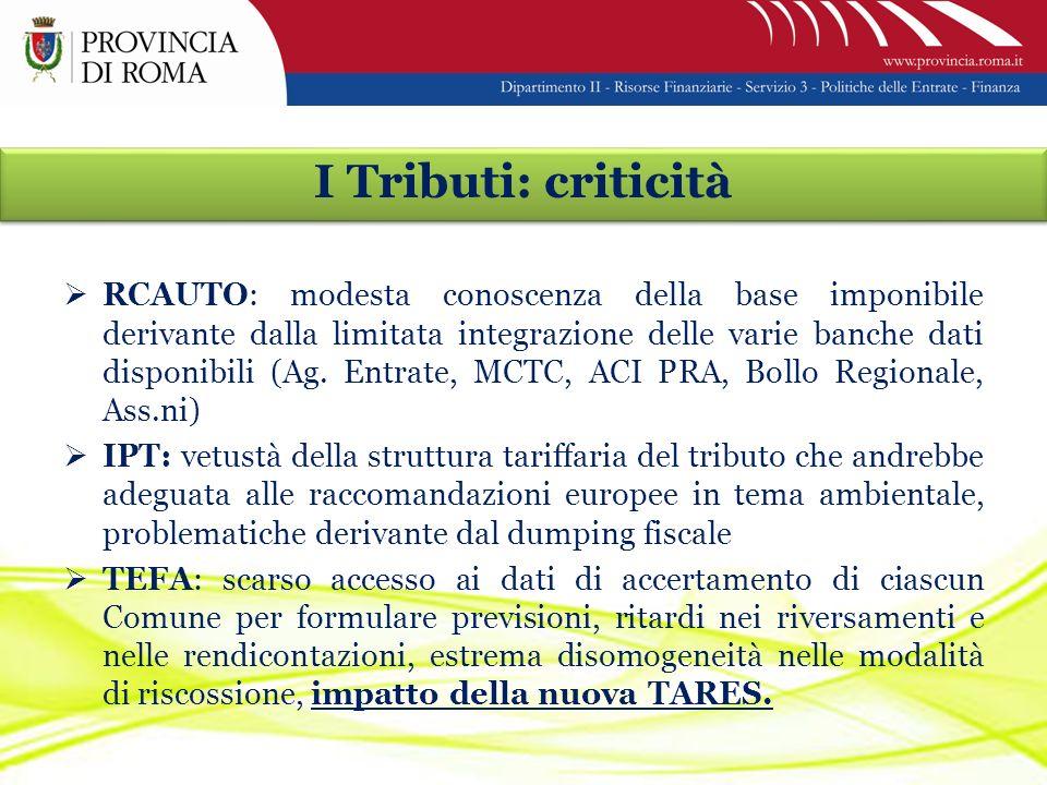 I Tributi: criticità RCAUTO: modesta conoscenza della base imponibile derivante dalla limitata integrazione delle varie banche dati disponibili (Ag.