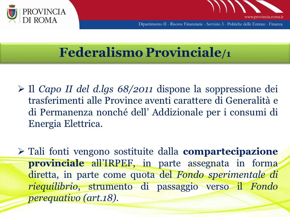 Federalismo Provinciale /1 Il Capo II del d.lgs 68/2011 dispone la soppressione dei trasferimenti alle Province aventi carattere di Generalità e di Permanenza nonché dell Addizionale per i consumi di Energia Elettrica.