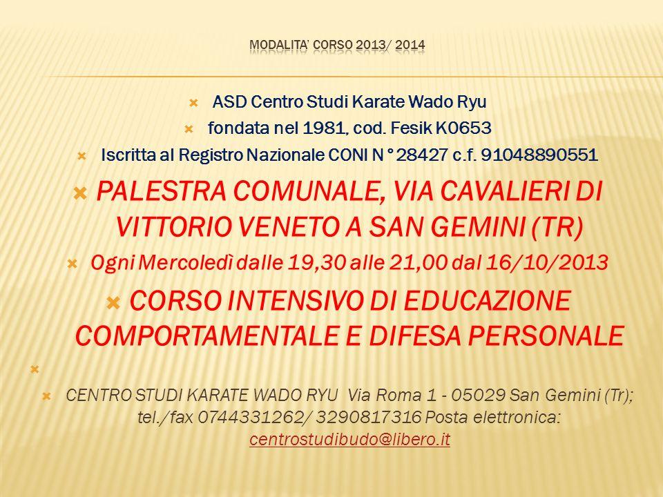 ASD Centro Studi Karate Wado Ryu fondata nel 1981, cod.