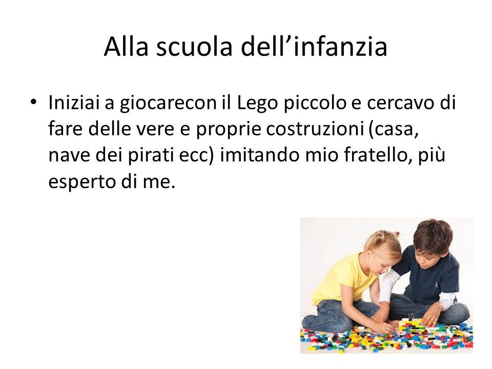Alla scuola dellinfanzia Iniziai a giocarecon il Lego piccolo e cercavo di fare delle vere e proprie costruzioni (casa, nave dei pirati ecc) imitando