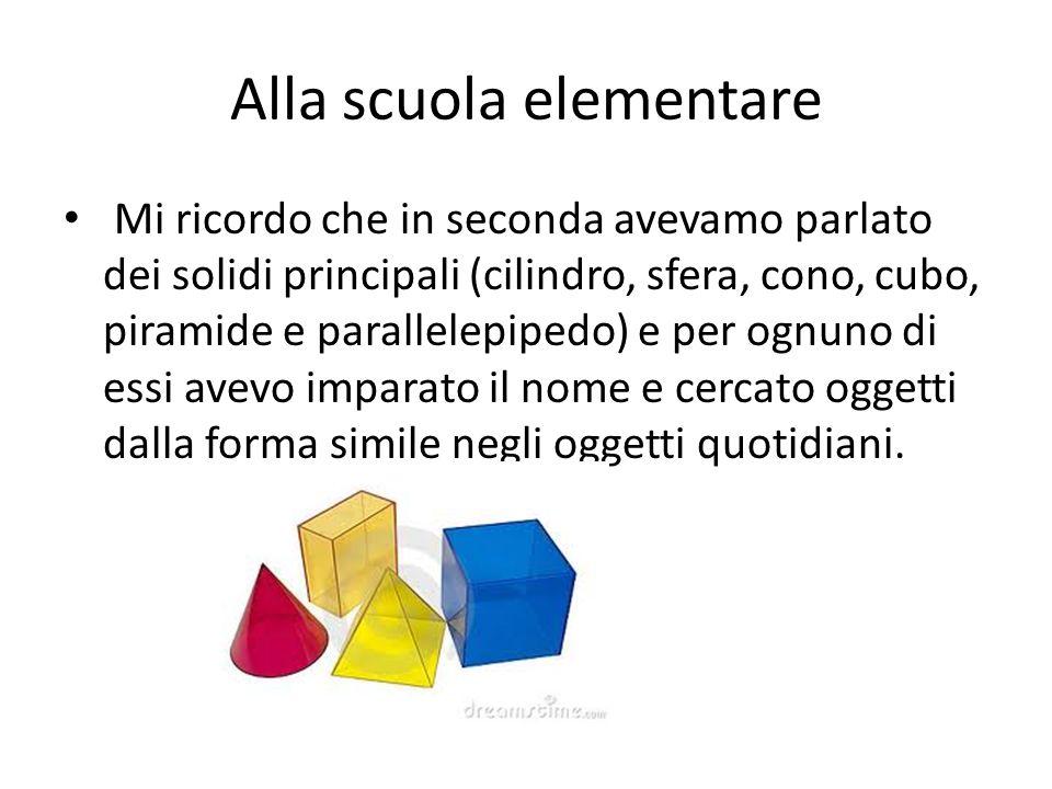 Alla scuola elementare Mi ricordo che in seconda avevamo parlato dei solidi principali (cilindro, sfera, cono, cubo, piramide e parallelepipedo) e per