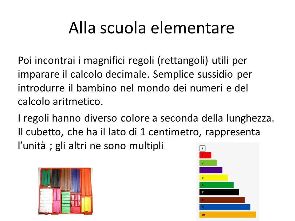 Alla scuola elementare Poi incontrai i magnifici regoli (rettangoli) utili per imparare il calcolo decimale. Semplice sussidio per introdurre il bambi