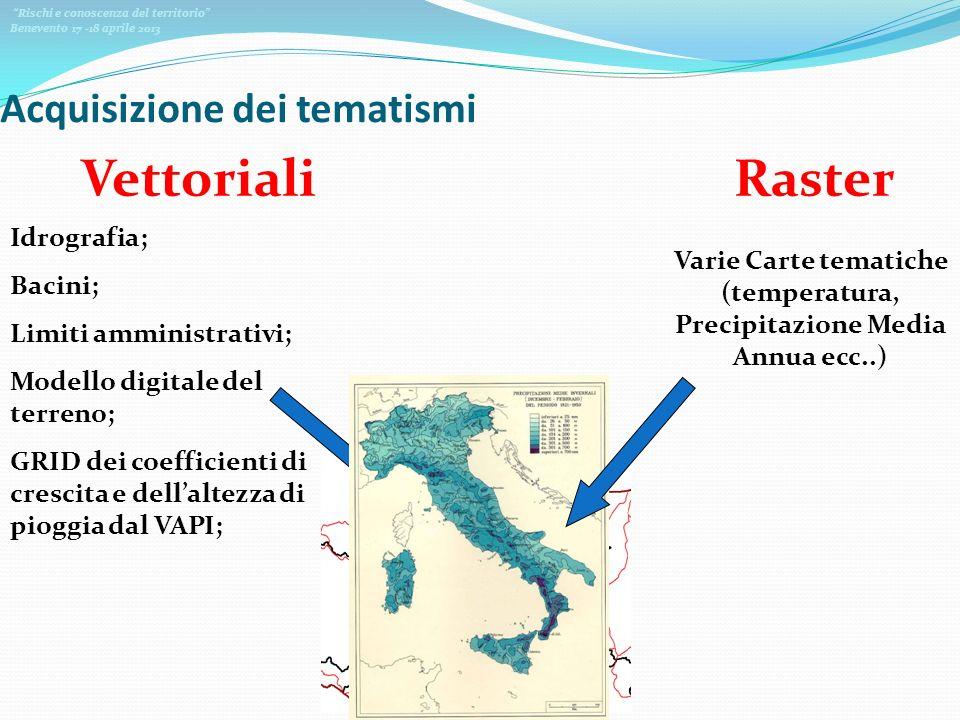 Rischi e conoscenza del territorio Benevento 17 -18 aprile 2013 Acquisizione dei tematismi VettorialiRaster Idrografia; Bacini; Limiti amministrativi;