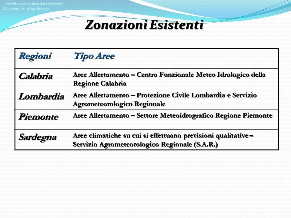 Rischi e conoscenza del territorio Benevento 17 -18 aprile 2013 Zonazioni Esistenti Regioni Tipo Aree Calabria Aree Allertamento – Centro Funzionale M