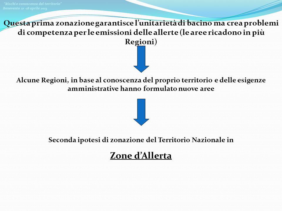 Rischi e conoscenza del territorio Benevento 17 -18 aprile 2013 Questa prima zonazione garantisce lunitarietà di bacino ma crea problemi di competenza