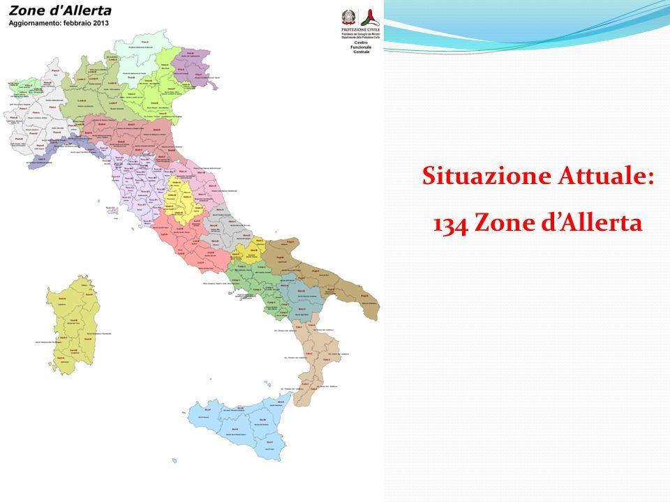 Rischi e conoscenza del territorio Benevento 17 -18 aprile 2013 Situazione Attuale: 134 Zone dAllerta