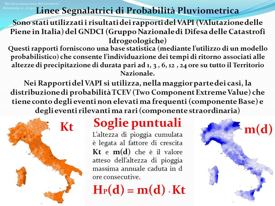 Rischi e conoscenza del territorio Benevento 17 -18 aprile 2013 Linee Segnalatrici di Probabilità Pluviometrica Sono stati utilizzati i risultati dei