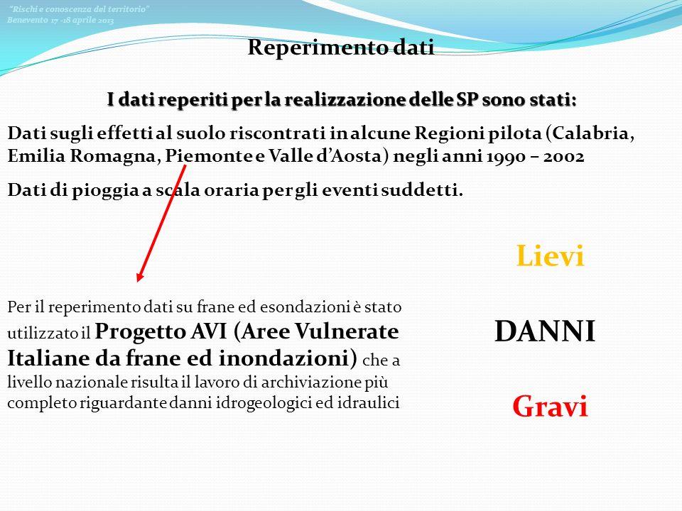 Rischi e conoscenza del territorio Benevento 17 -18 aprile 2013 Reperimento dati I dati reperiti per la realizzazione delle SP sono stati: Dati sugli