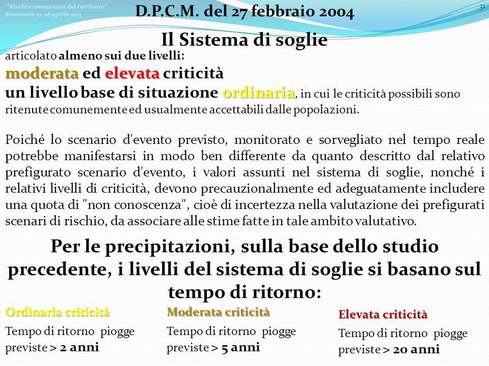 Rischi e conoscenza del territorio Benevento 17 -18 aprile 2013 31 D.P.C.M. del 27 febbraio 2004 Il Sistema di soglie articolato almeno sui due livell