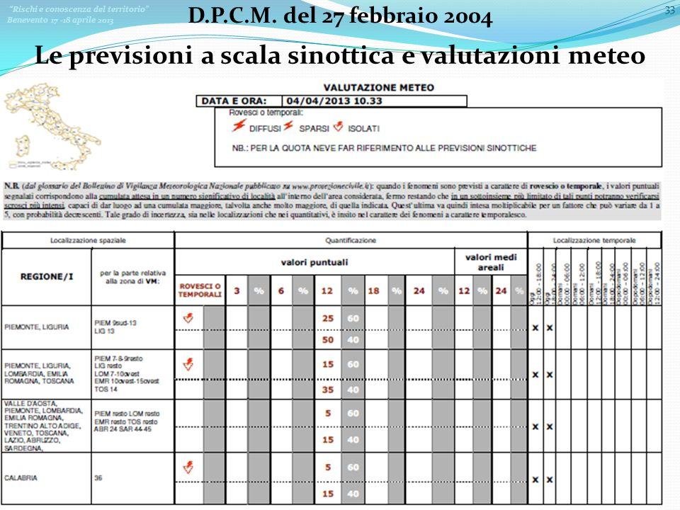 Rischi e conoscenza del territorio Benevento 17 -18 aprile 2013 33 D.P.C.M. del 27 febbraio 2004 Le previsioni a scala sinottica e valutazioni meteo