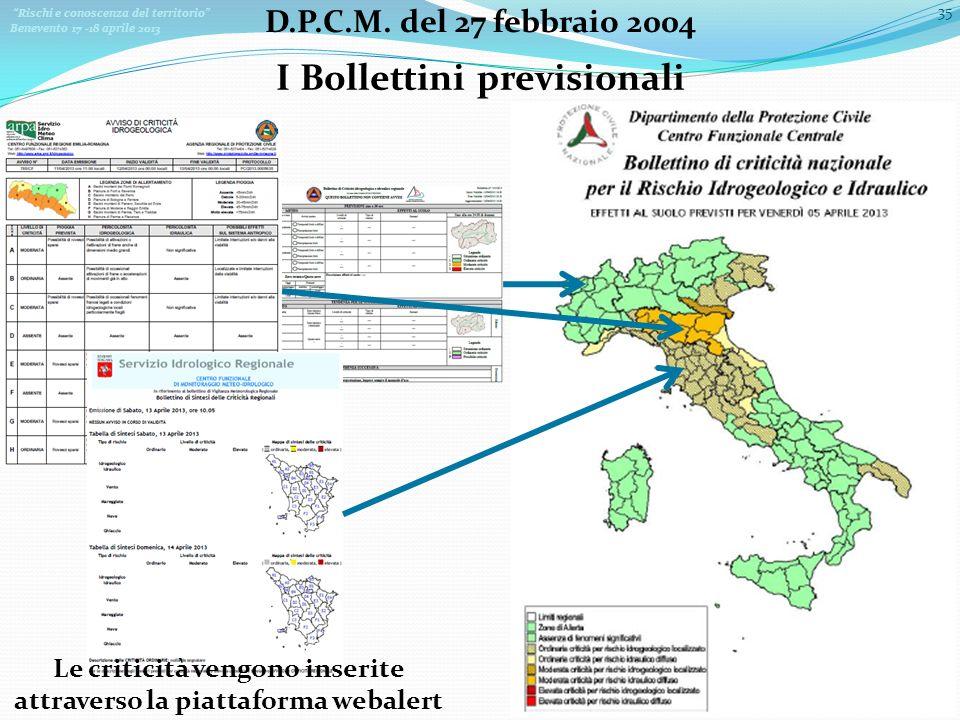 Rischi e conoscenza del territorio Benevento 17 -18 aprile 2013 35 D.P.C.M. del 27 febbraio 2004 I Bollettini previsionali Le criticità vengono inseri
