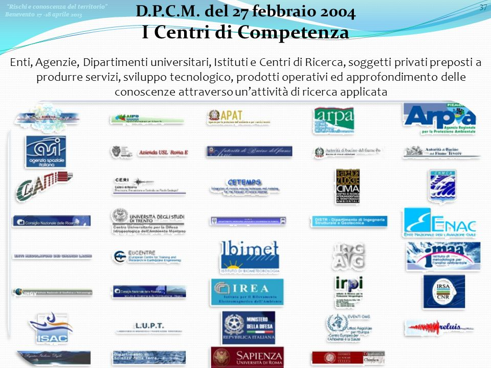 Rischi e conoscenza del territorio Benevento 17 -18 aprile 2013 37 Enti, Agenzie, Dipartimenti universitari, Istituti e Centri di Ricerca, soggetti pr