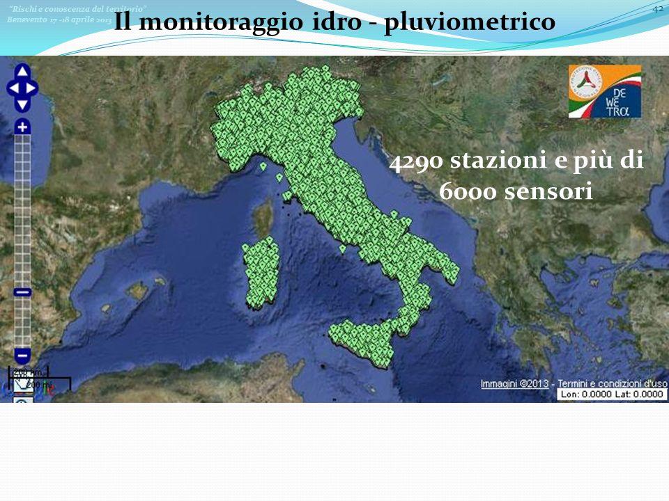 Rischi e conoscenza del territorio Benevento 17 -18 aprile 2013 42 Il monitoraggio idro - pluviometrico 4290 stazioni e più di 6000 sensori