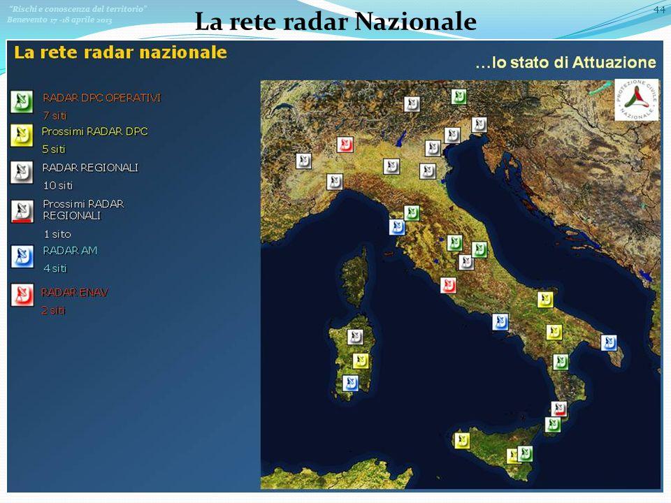 Rischi e conoscenza del territorio Benevento 17 -18 aprile 2013 44 La rete radar Nazionale