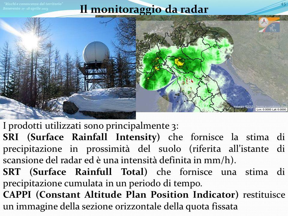 Rischi e conoscenza del territorio Benevento 17 -18 aprile 2013 45 Il monitoraggio da radar I prodotti utilizzati sono principalmente 3: SRI (Surface Rainfall Intensity) che fornisce la stima di precipitazione in prossimità del suolo (riferita allistante di scansione del radar ed è una intensità definita in mm/h).