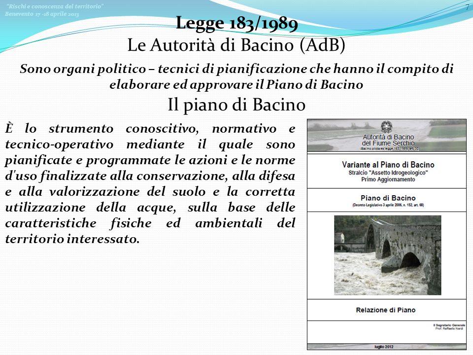 Rischi e conoscenza del territorio Benevento 17 -18 aprile 2013 7 Legge 183/1989 Le Autorità di Bacino (AdB) Sono organi politico – tecnici di pianifi