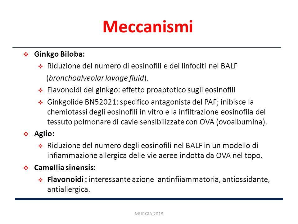 Meccanismi MURGIA 2013 Ginkgo Biloba: Riduzione del numero di eosinofili e dei linfociti nel BALF (bronchoalveolar lavage fluid). Flavonoidi del ginkg