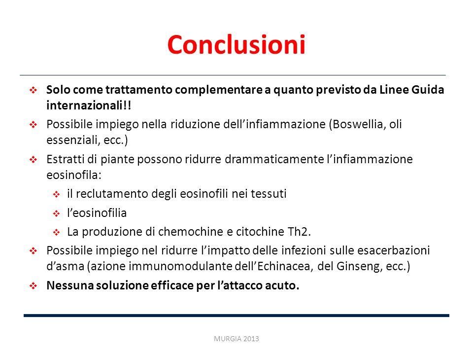 Conclusioni Solo come trattamento complementare a quanto previsto da Linee Guida internazionali!! Possibile impiego nella riduzione dellinfiammazione