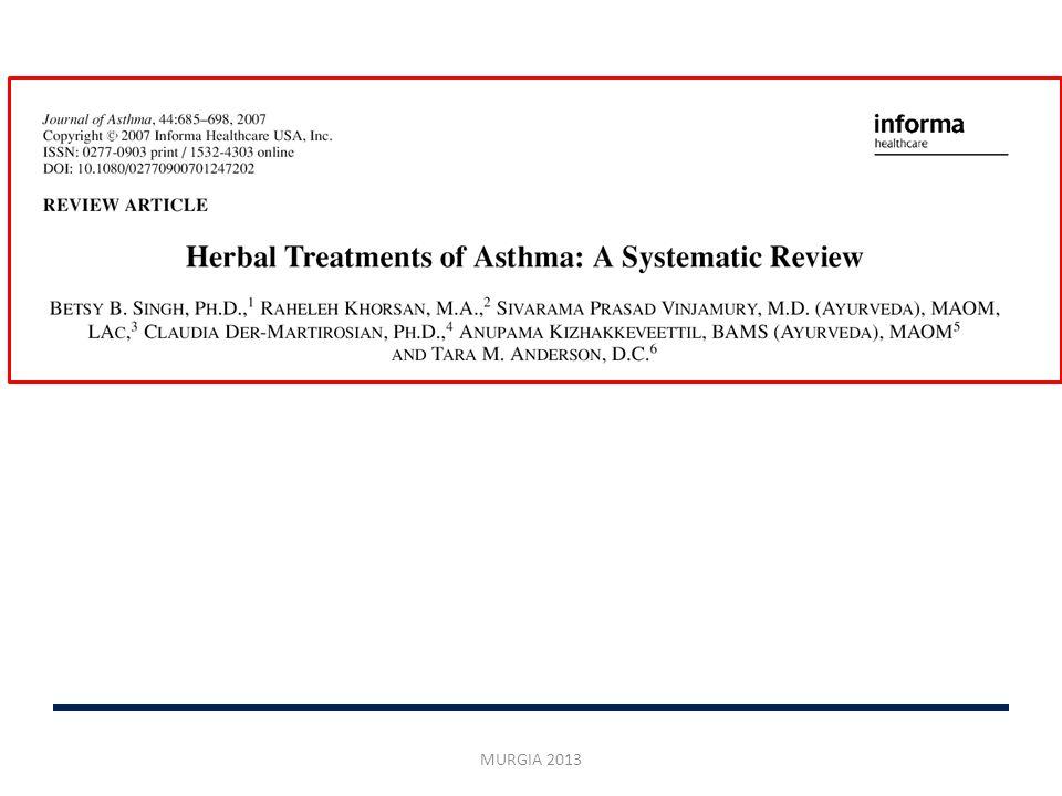 Notevole aumento richiesta terapie non convenzionali USA: 60-70% degli asmatici fa ricorso alle CAM Fitoterapia: 10% degli adulti 6% dei bambini MURGIA 2013