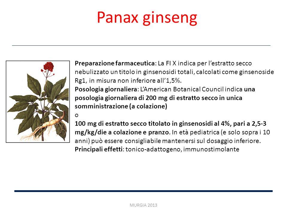 Preparazione farmaceutica: La FI X indica per lestratto secco nebulizzato un titolo in ginsenosidi totali, calcolati come ginsenoside Rg1, in misura n