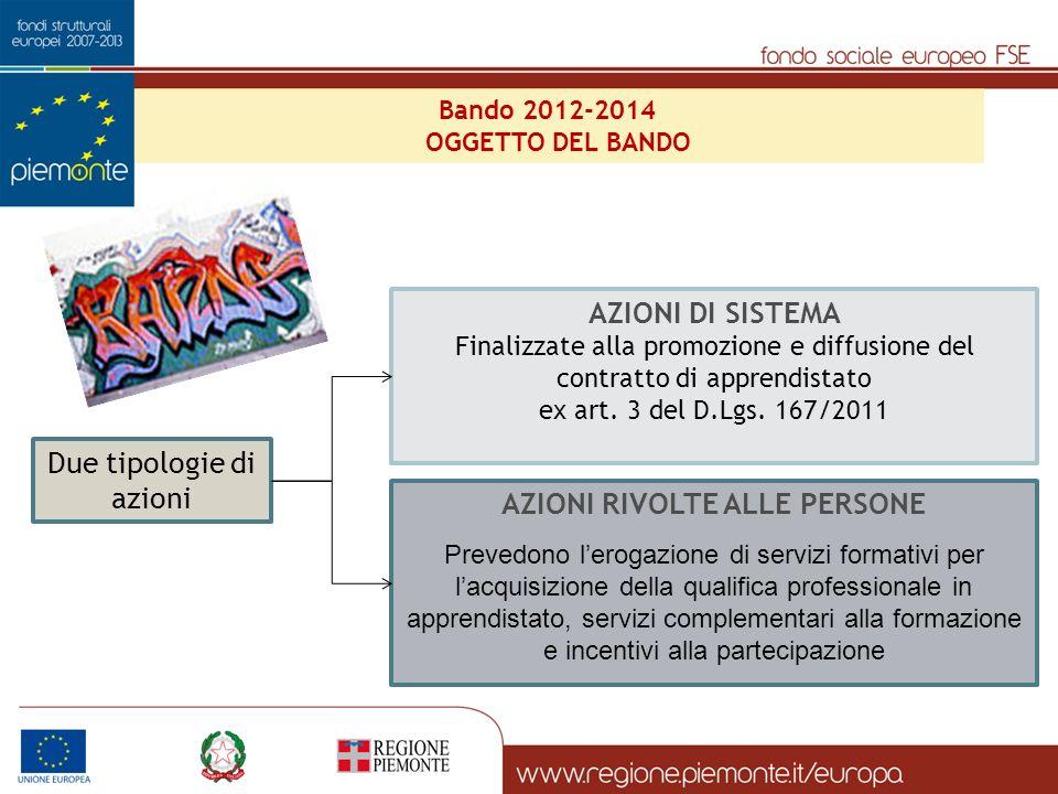 Bando 2012-2014 OGGETTO DEL BANDO Due tipologie di azioni AZIONI DI SISTEMA Finalizzate alla promozione e diffusione del contratto di apprendistato ex art.