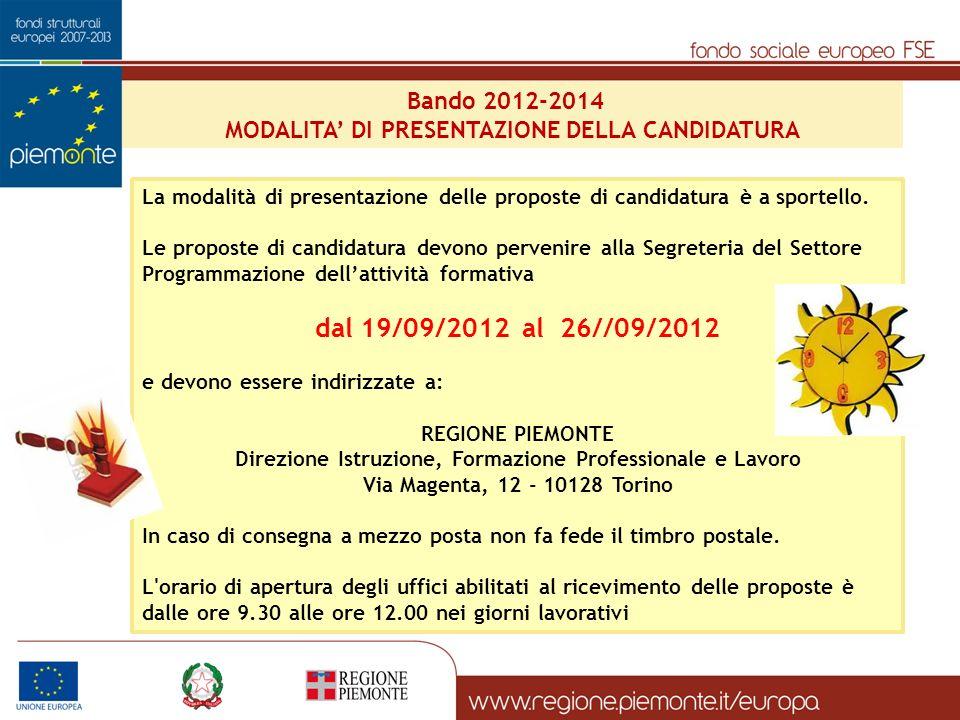 Bando 2012-2014 MODALITA DI PRESENTAZIONE DELLA CANDIDATURA La modalità di presentazione delle proposte di candidatura è a sportello.