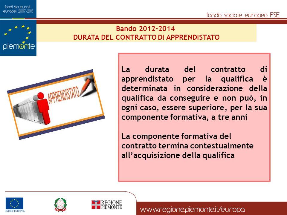 Bando 2012-2014 DURATA DEL CONTRATTO DI APPRENDISTATO La durata del contratto di apprendistato per la qualifica è determinata in considerazione della