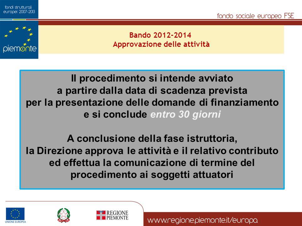 Il procedimento si intende avviato a partire dalla data di scadenza prevista per la presentazione delle domande di finanziamento e si conclude entro 3