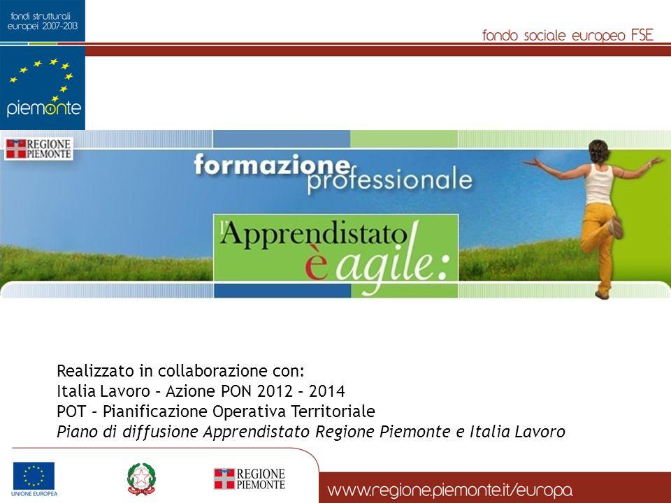 Realizzato in collaborazione con: Italia Lavoro – Azione PON 2012 – 2014 POT – Pianificazione Operativa Territoriale Piano di diffusione Apprendistato Regione Piemonte e Italia Lavoro
