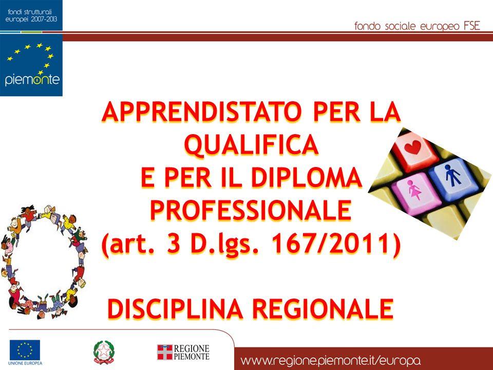 APPRENDISTATO PER LA QUALIFICA E PER IL DIPLOMA PROFESSIONALE (art. 3 D.lgs. 167/2011) DISCIPLINA REGIONALE