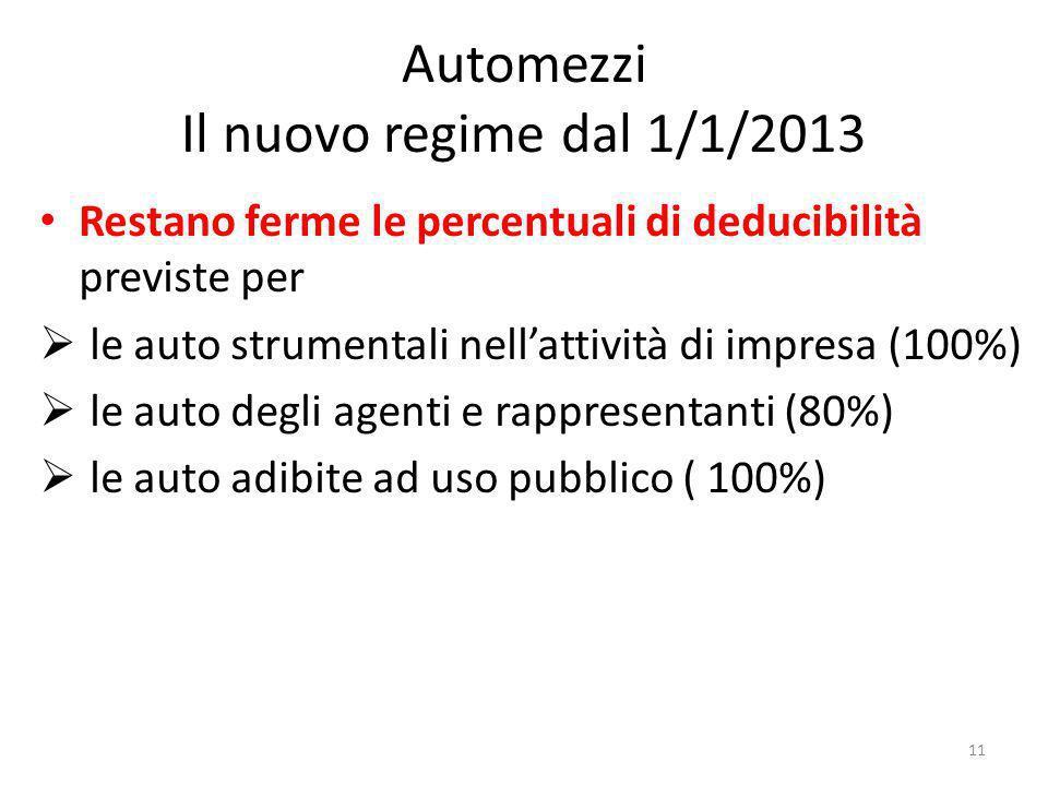 Automezzi Il nuovo regime dal 1/1/2013 Restano ferme le percentuali di deducibilità previste per le auto strumentali nellattività di impresa (100%) le auto degli agenti e rappresentanti (80%) le auto adibite ad uso pubblico ( 100%) 11