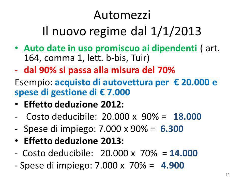 Automezzi Il nuovo regime dal 1/1/2013 Auto date in uso promiscuo ai dipendenti ( art.