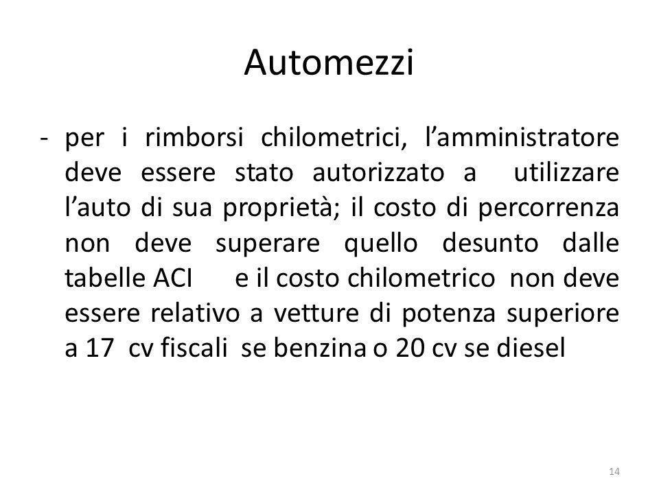 Automezzi -per i rimborsi chilometrici, lamministratore deve essere stato autorizzato a utilizzare lauto di sua proprietà; il costo di percorrenza non deve superare quello desunto dalle tabelle ACI e il costo chilometrico non deve essere relativo a vetture di potenza superiore a 17 cv fiscali se benzina o 20 cv se diesel 14
