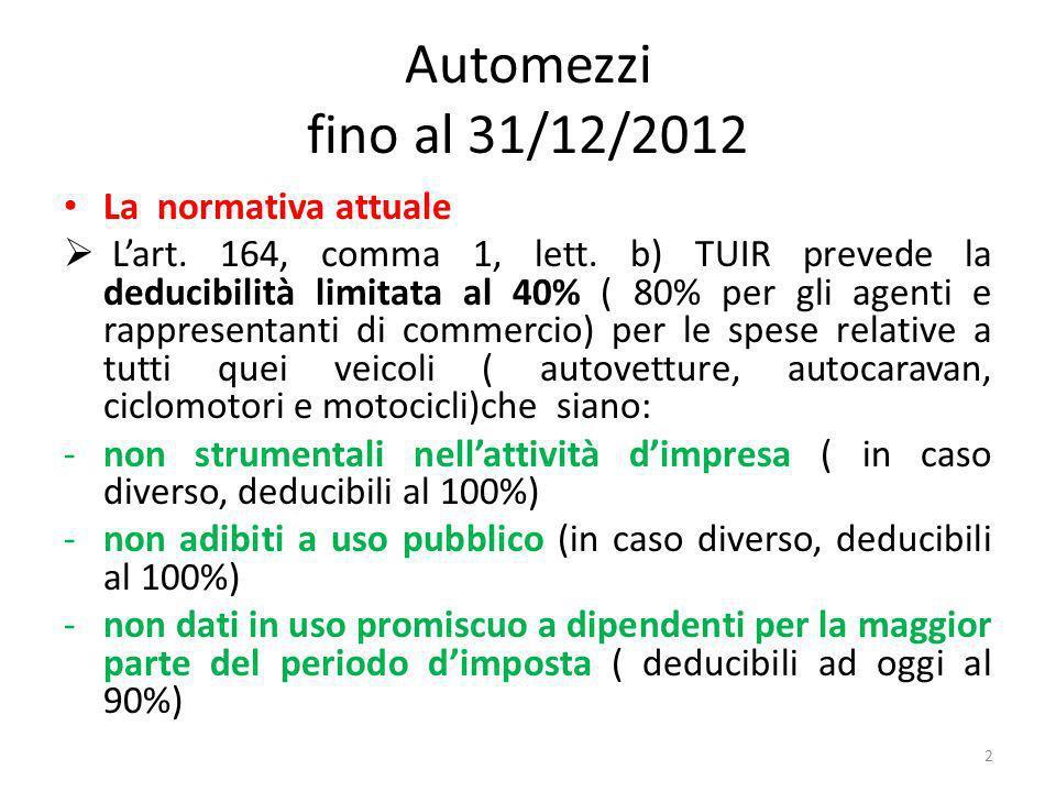 Automezzi fino al 31/12/2012 La normativa attuale Lart.
